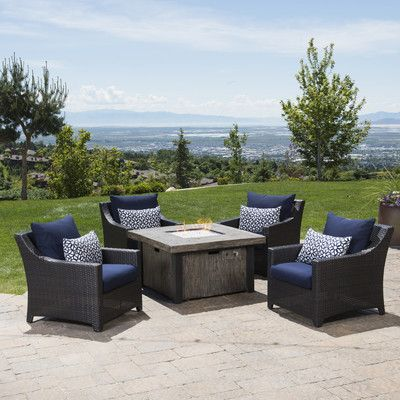 Deco 5 Piece Fire Pit Set with Cushions | Wayfair | Mom\'s House ...
