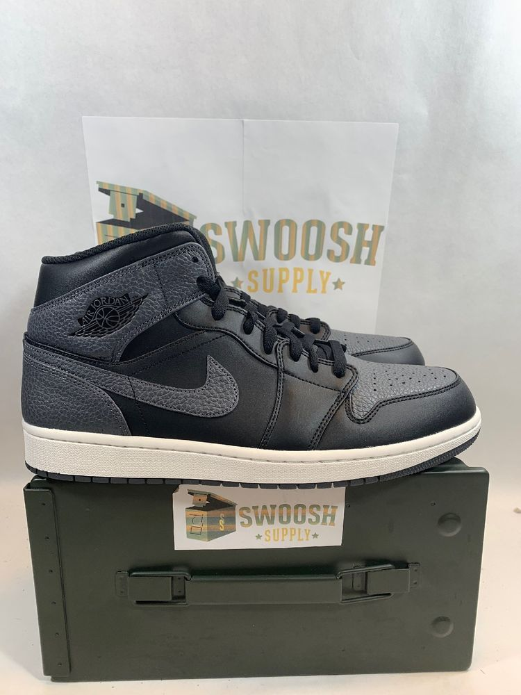 timeless design 36a95 b3660 Nike Mens Air Jordan 1 Mid Black Basketball 554724-041 Size ...