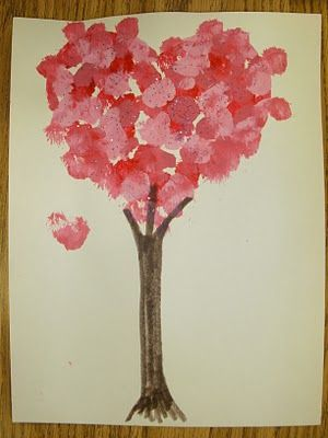 Finger prints make a great valentine day tree or just a special tree to say I love you :)