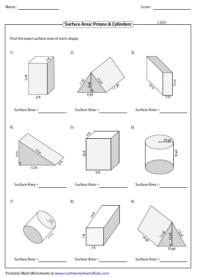 50+ Classic surface area of prisms and cylinders worksheets Wonderful