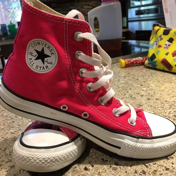 00dcf779dde Converse high tops Pink Converse high tops in great condition size 4 youth  size 6 women Converse Shoes Athletic Shoes
