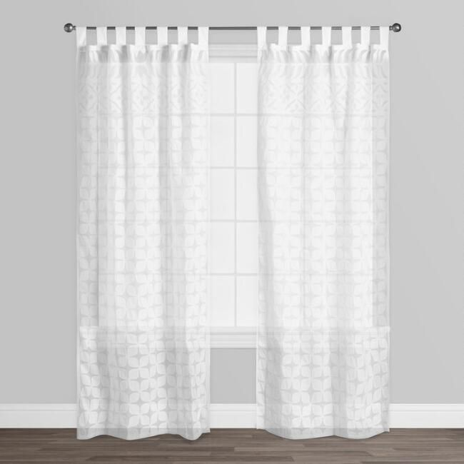 White Petal Cutwork Sheer Cotton Curtains Set Of 2 V2