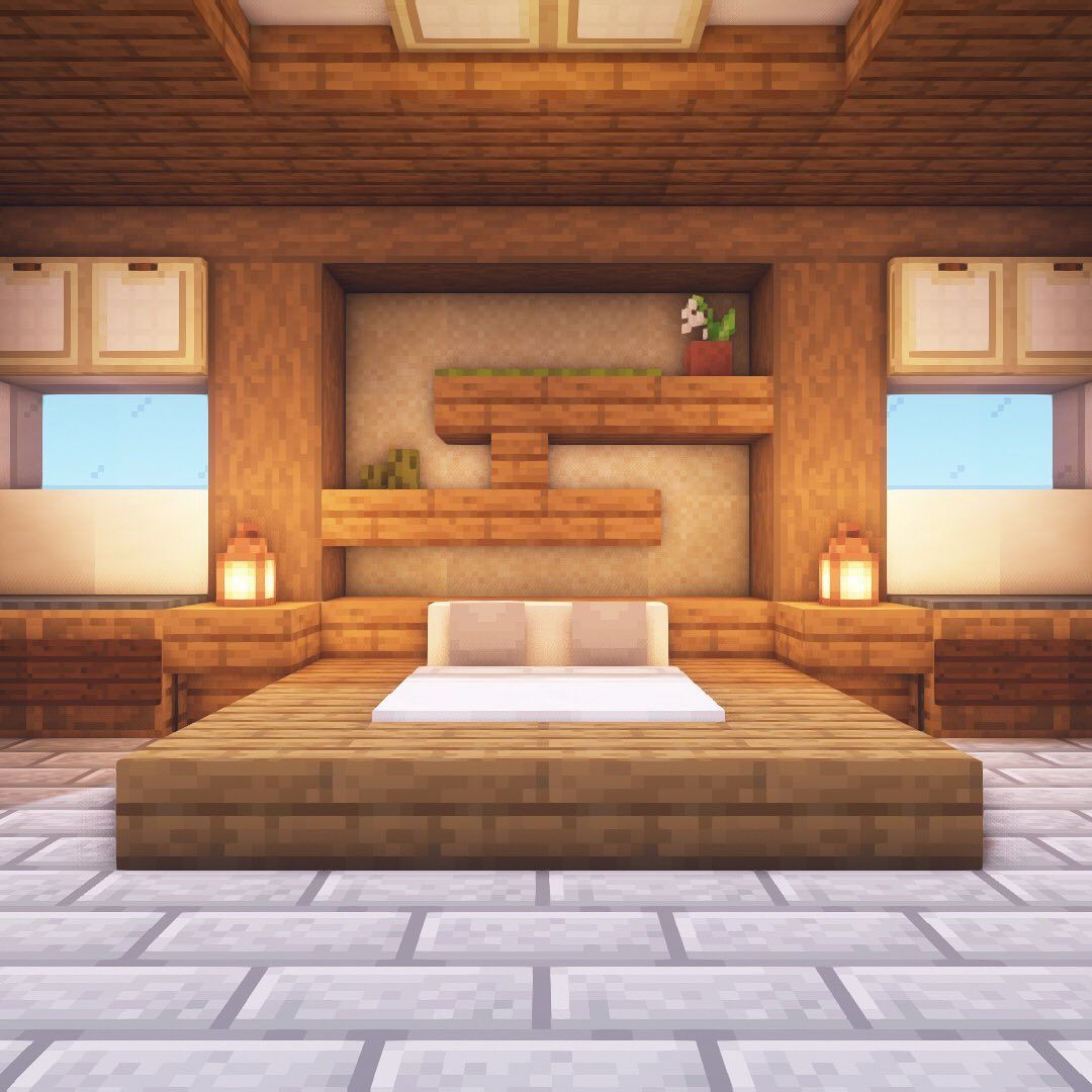 Modern Wooden House 8 Grabcraft Your Number One Source For Minecraft Buildings Blueprints Tips I In 2020 Minecraft Room Minecraft Bedroom Minecraft Bedroom Game