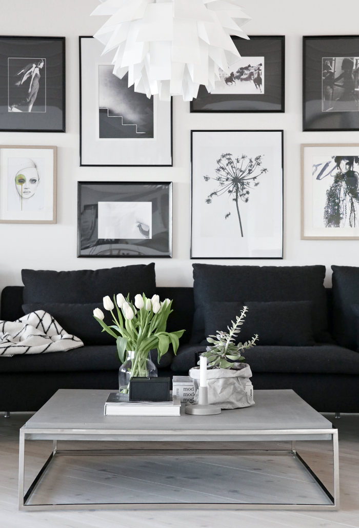 Picture Wall Stylizimo Wall Behind Couch Living Room White Black And White Living Room