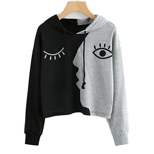 95636ff3e57b7 Hunzed Women Shirt Women Hooded TShirt Casual Sweatshirt Long Sleeve Tops  Crop Patchwork Loose Knit Blouse Pullover Tops Gray 3XL   Learn more by  visiting ...