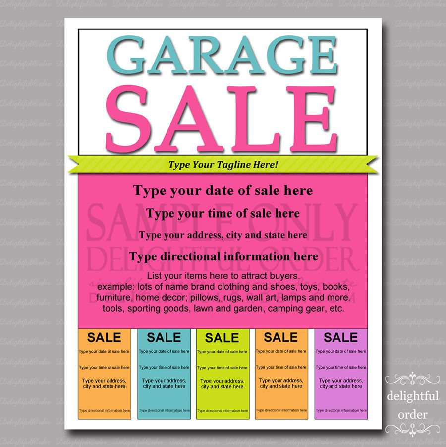 Editable Garage Sale Flyer - PDF printable file | Garage Sale Tips ...