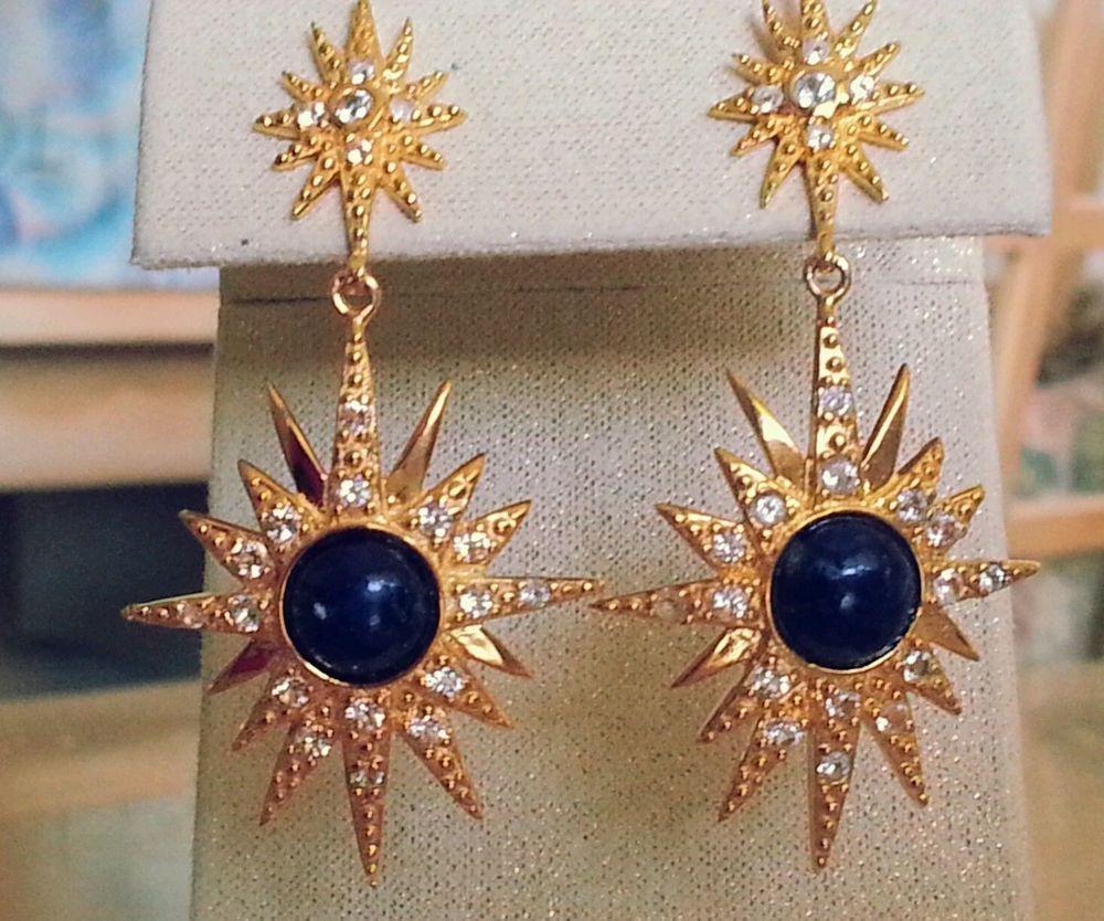 Cristina Sabatini Starburst/Sunburst Dangle Earrings with Crystal and Lapis, NWT #CristinaSabatini #DropDangle