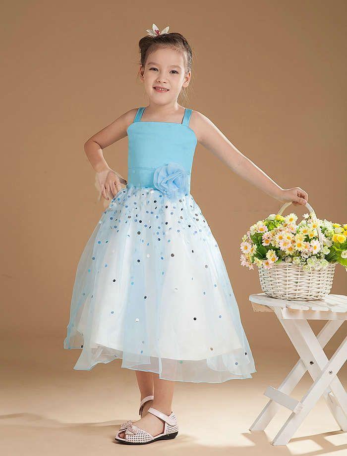 A Line Light Sky Blue Satin Organza Beading Flower Girl Dress ...
