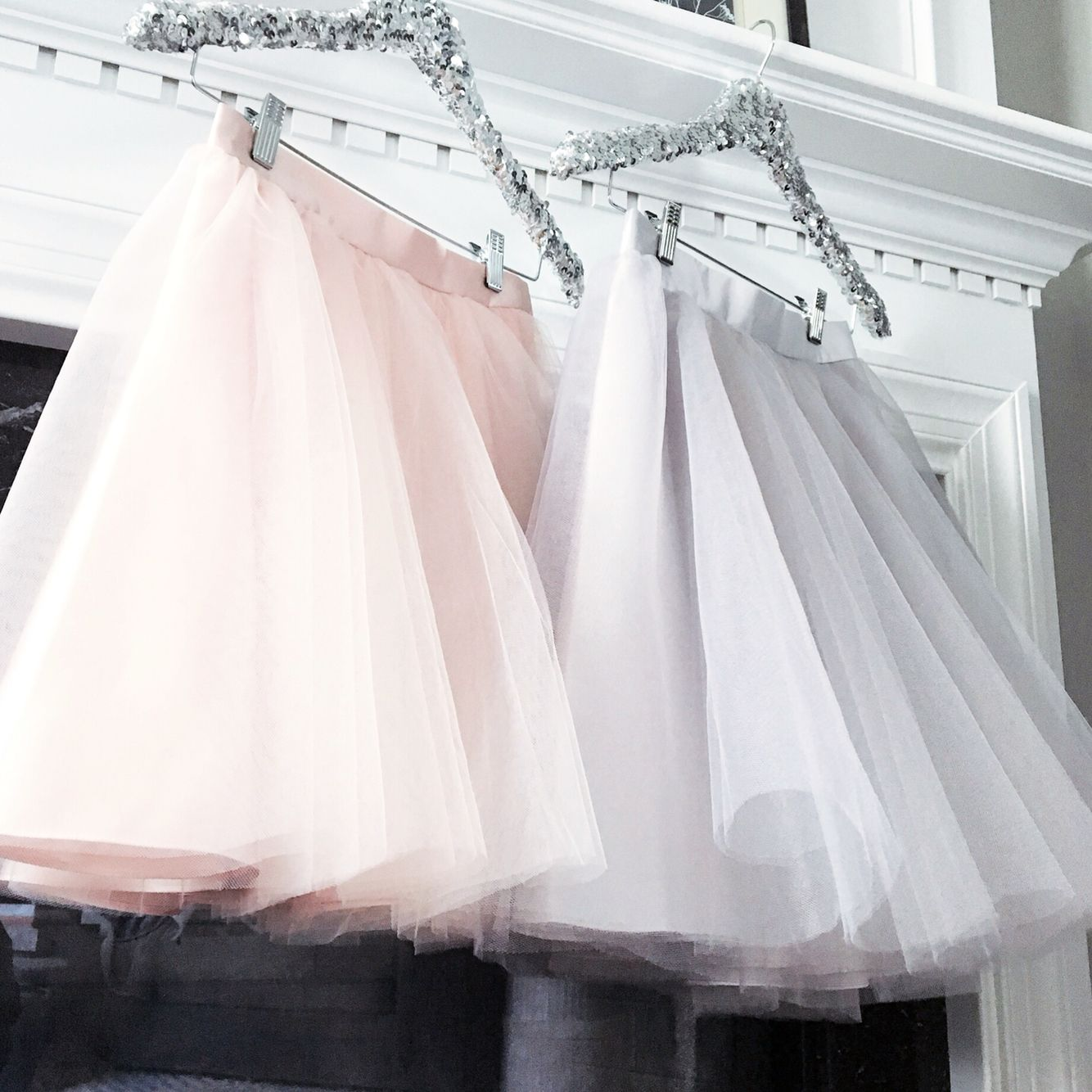 Blush pink and pale grey tulle skirts by Bliss Tulle