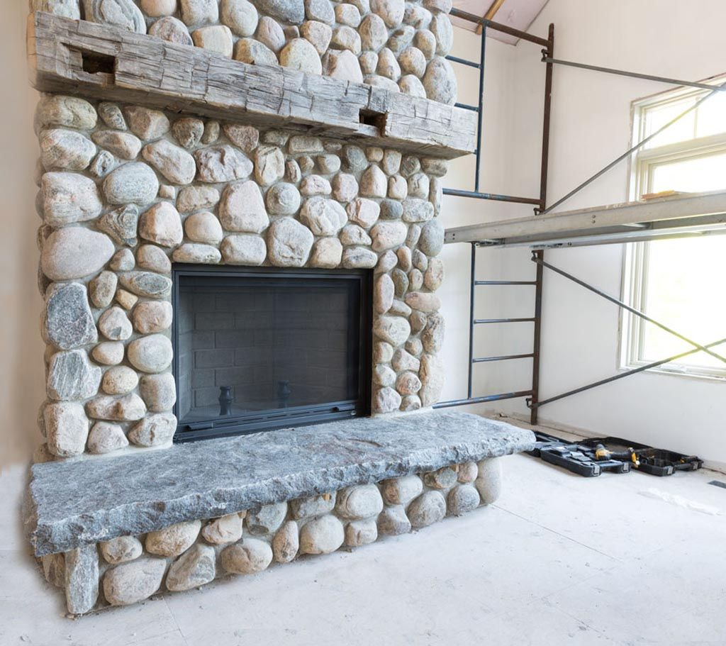 River Rock Stone Fireplace | Natural stone fireplaces ...