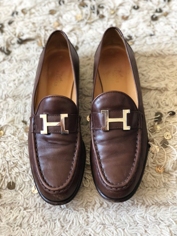 a7b3df62e7c Vintage HERMES H SILVER Logo Brown Leather Loafers Heels Driving Shoes  Smoking Slippers Ballet Flats