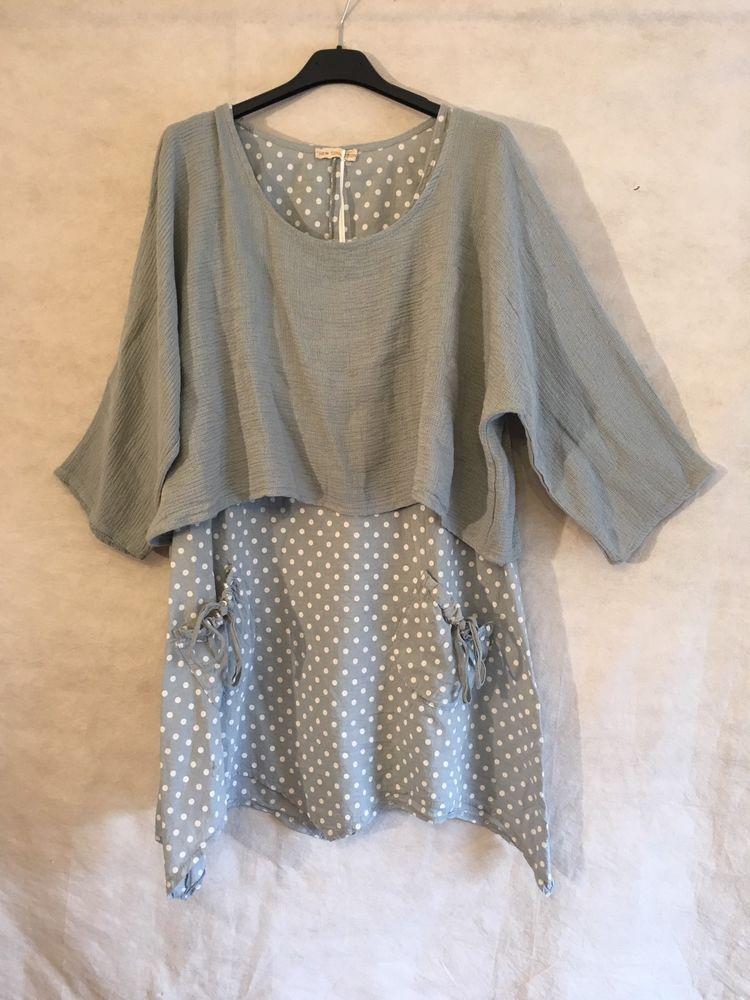 77855c8052d Italian Lagenlook Ladies Spotted LINEN 2 Piece Layered Dress Shrug Top Set  10-14