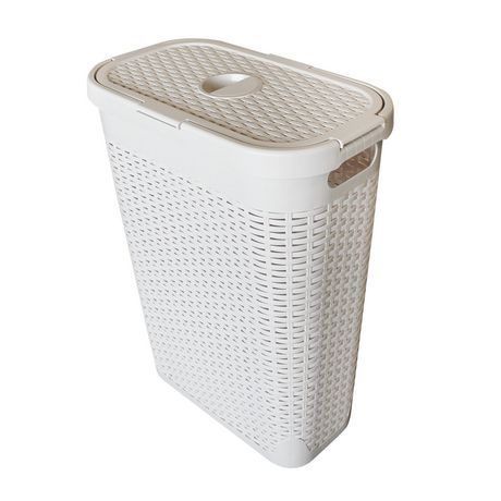 Modern Homes 40l Laundry Hamper White White Modernbathroomhampers
