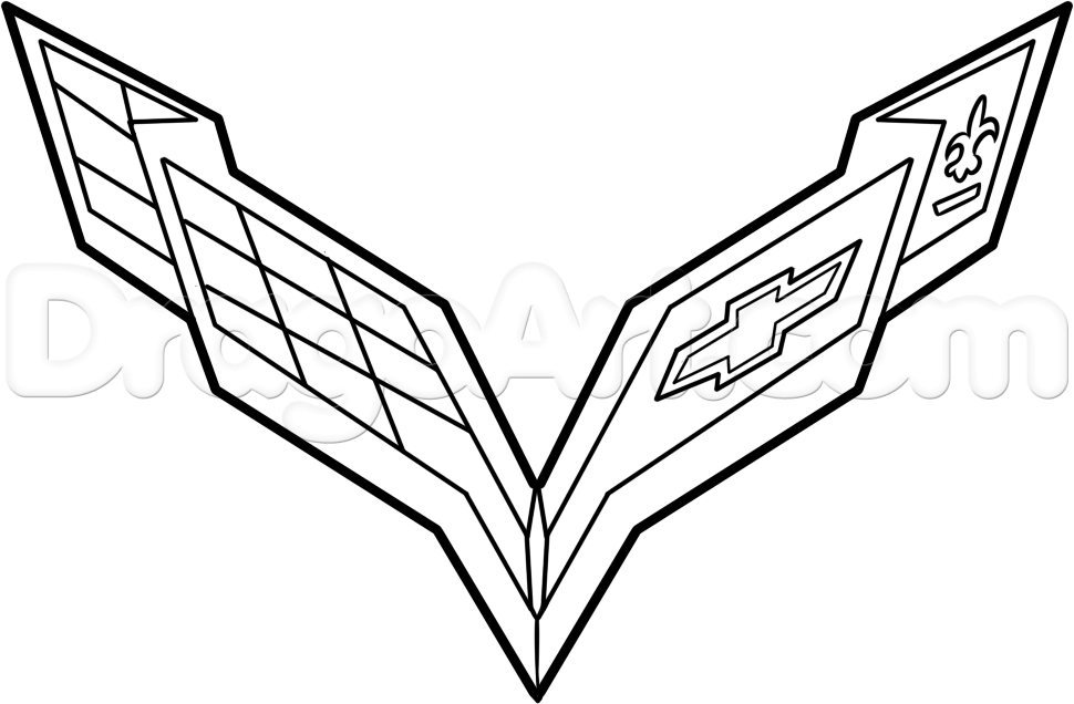 how to draw the corvette logo step 6