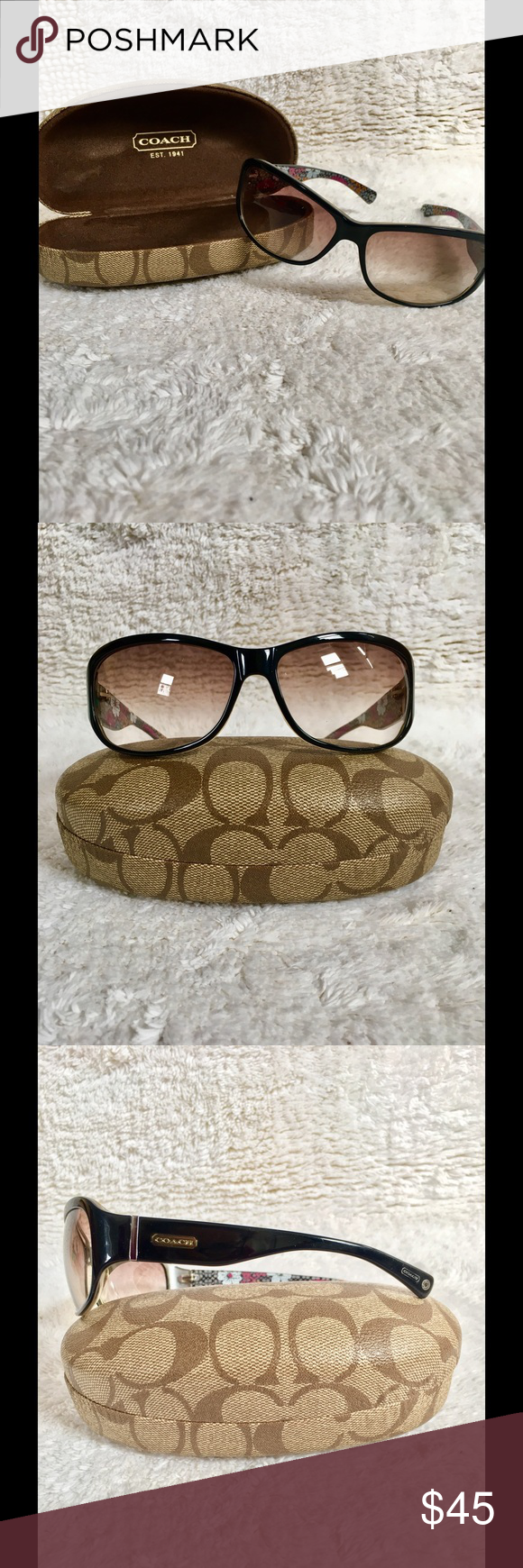 4577d7a24551d COACH Black Sarah (S437) Sunglasses This oversized sunglass from COACH is a  stable piece
