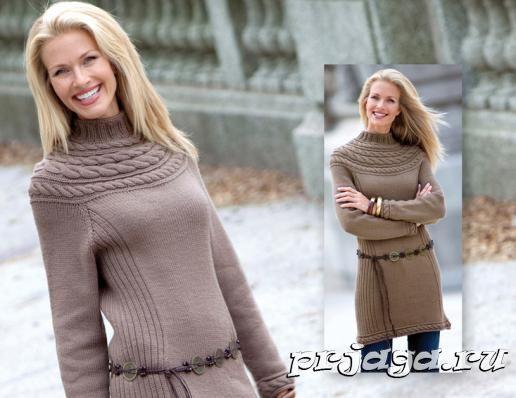 Knit dress, round neckline, cable, mocha, brown
