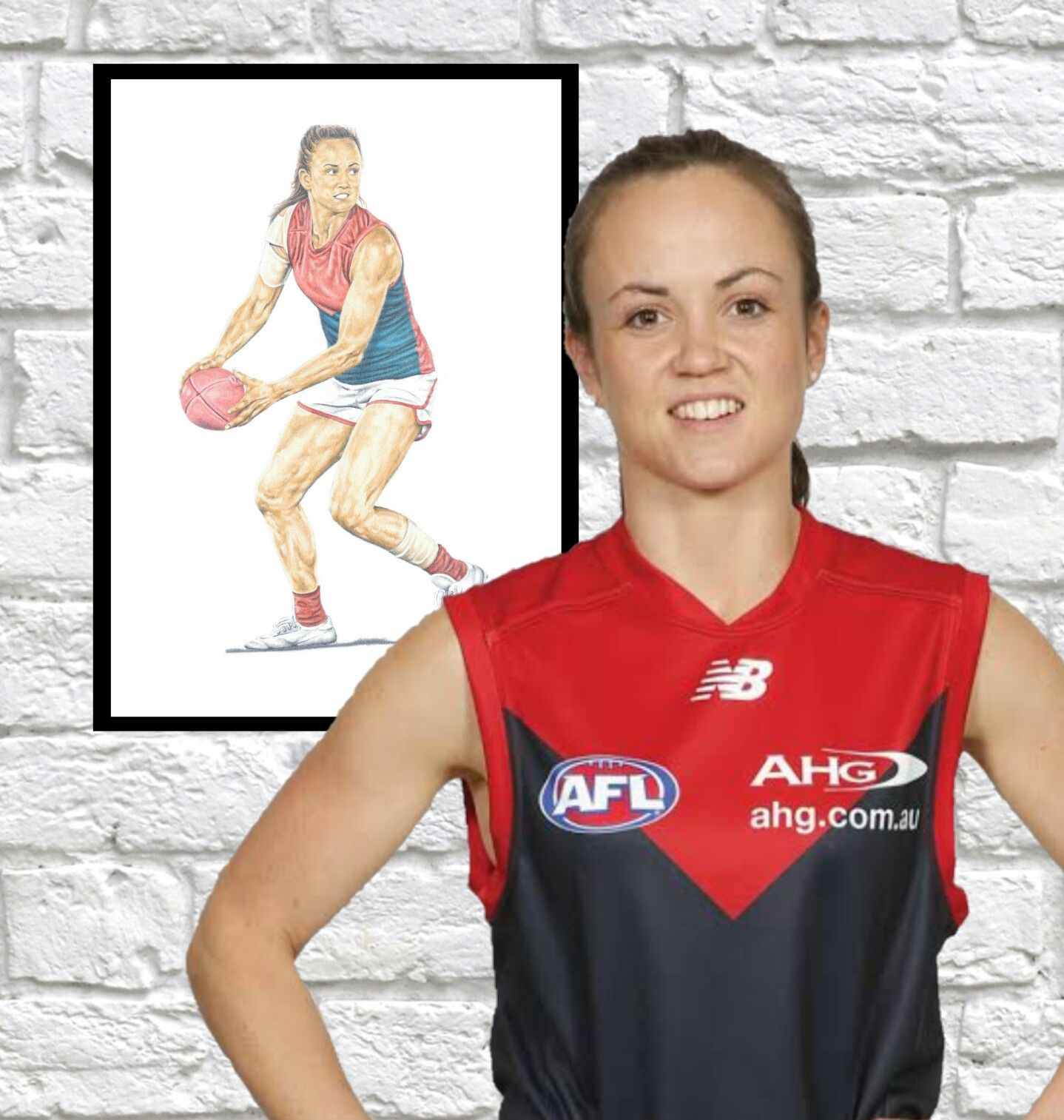 Daisy Pearce Melbourne Demons player art (AFLW). Limited