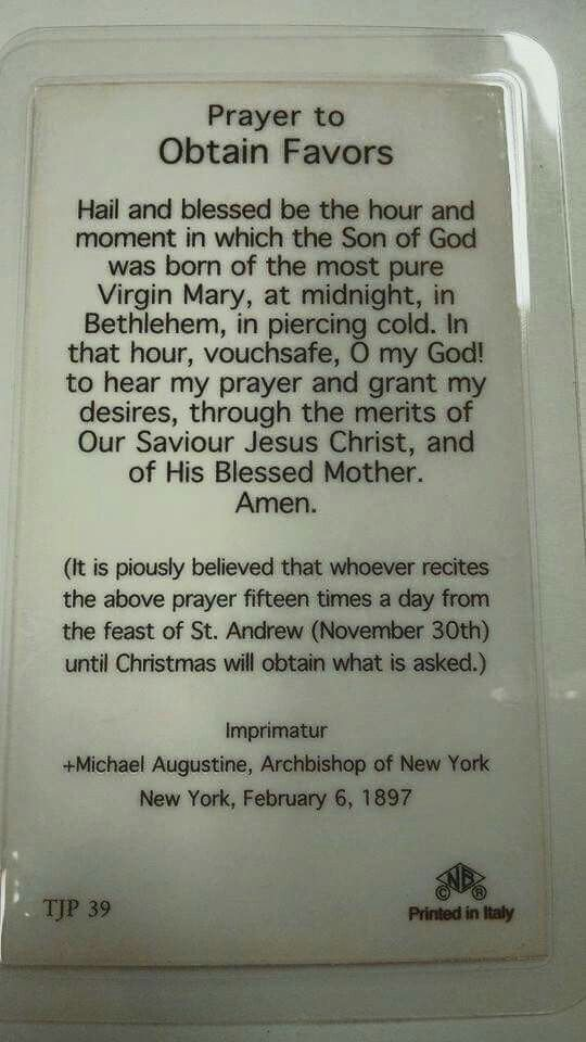 Prayer to obtain Favors! Very powerful pray before Christmas