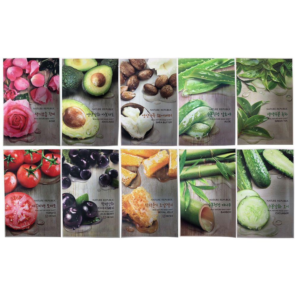 Nature Republic Real Mask Sheet 10pcs Original Korean 5 Holika Pure Essence Shea Butter K Beauty Naturerepublic