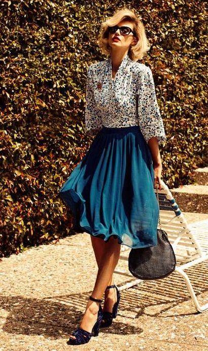 50s vintage a-line  pinup preppy Retro style dark Denim jeans pleated skirt