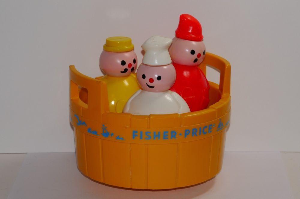 Fisher Price 1970 Rub a Dub Dub 3 Men In A Tub Bath Toy #142 | eBay ...