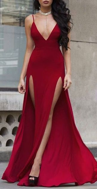 48ea91e394 What a beautiful double slit maxi dress. Her body is perfect. The red dress  suits her so well