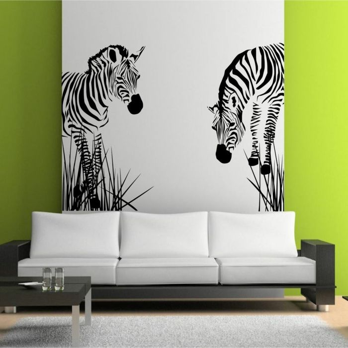 Le pochoir mural 35 id es cr atives pour l 39 int rieur d co parement mural - Pochoir mural chambre ...