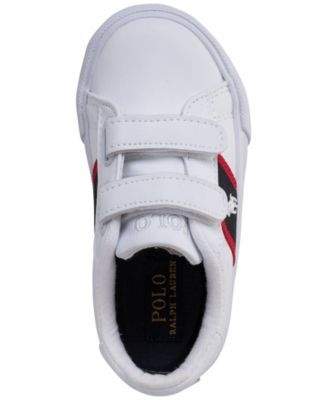 c91f05781ce9e Polo Ralph Lauren Toddler Boys' Geoff Ez Casual Sneakers from Finish Line -  WHITE TUMBLED/NAVY/RED/WH 4