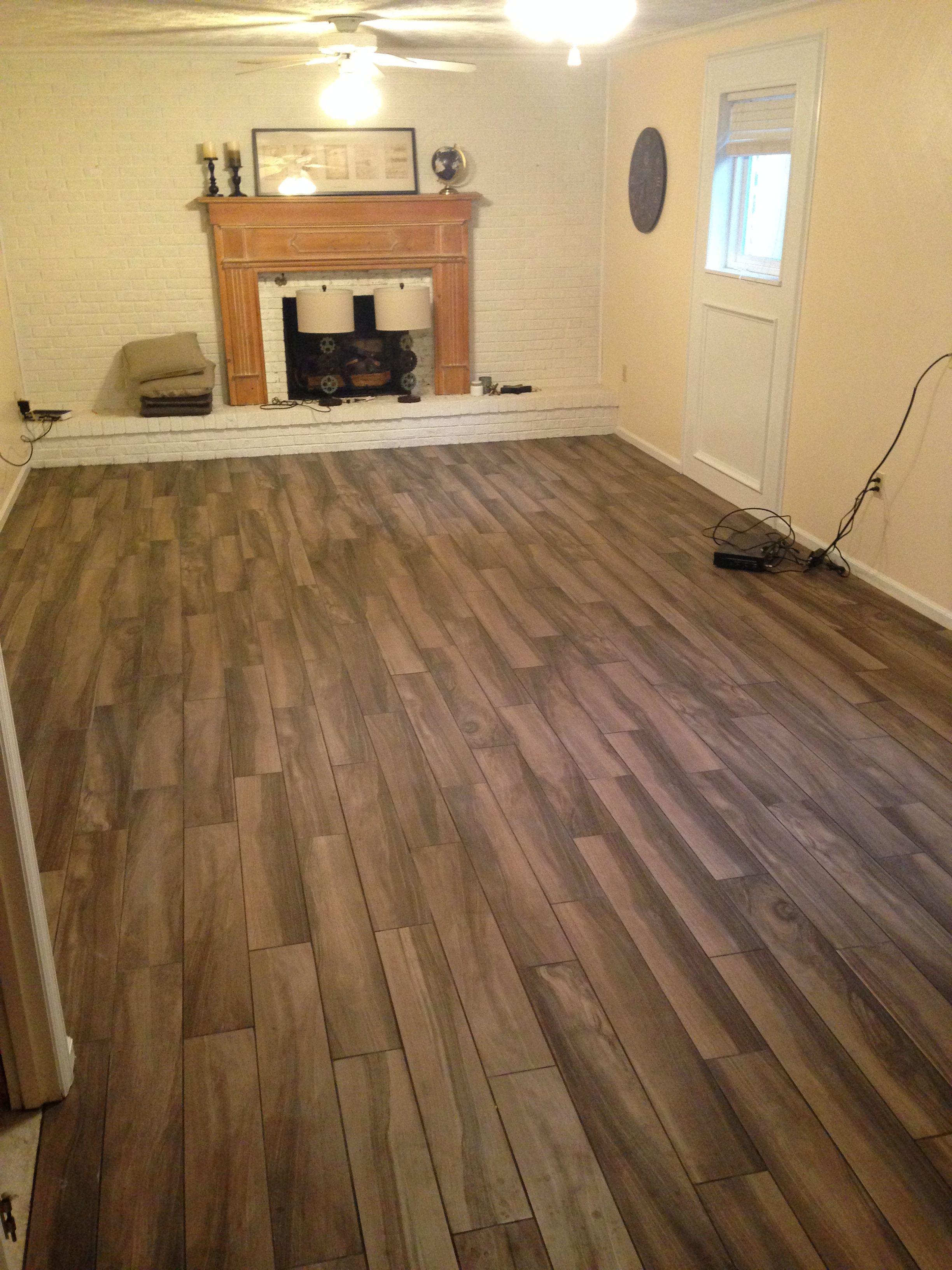 Kaden walnut tile from Lowe's. Wood tile Home renovation