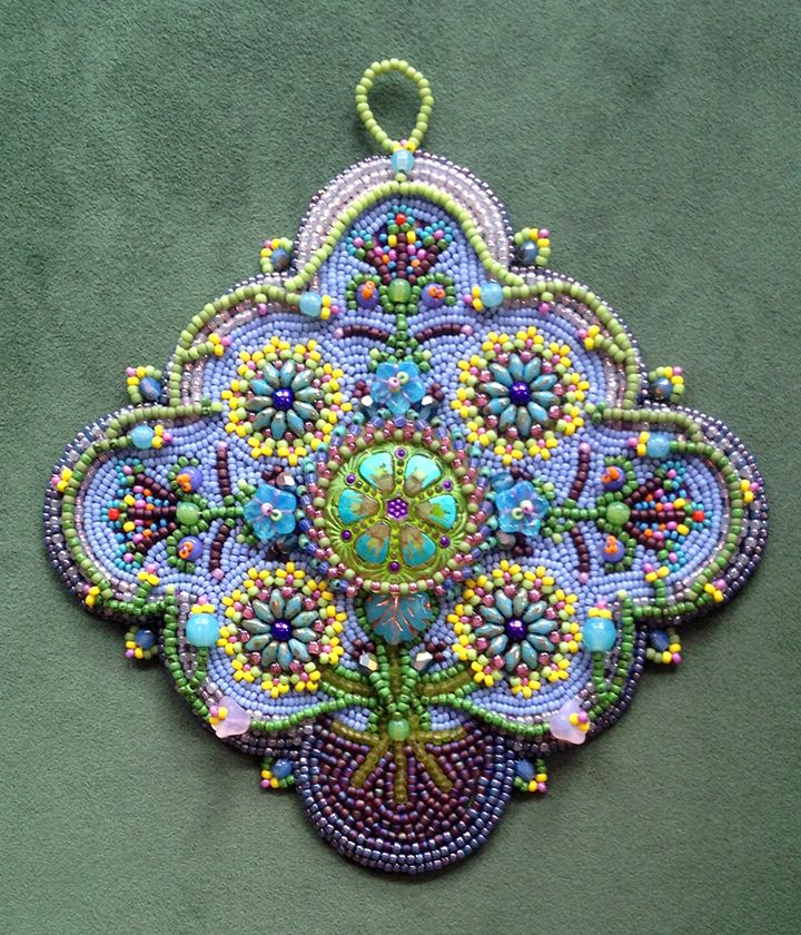 Early Spring bead embroidered ornament kit designed by Lisa Binkley
