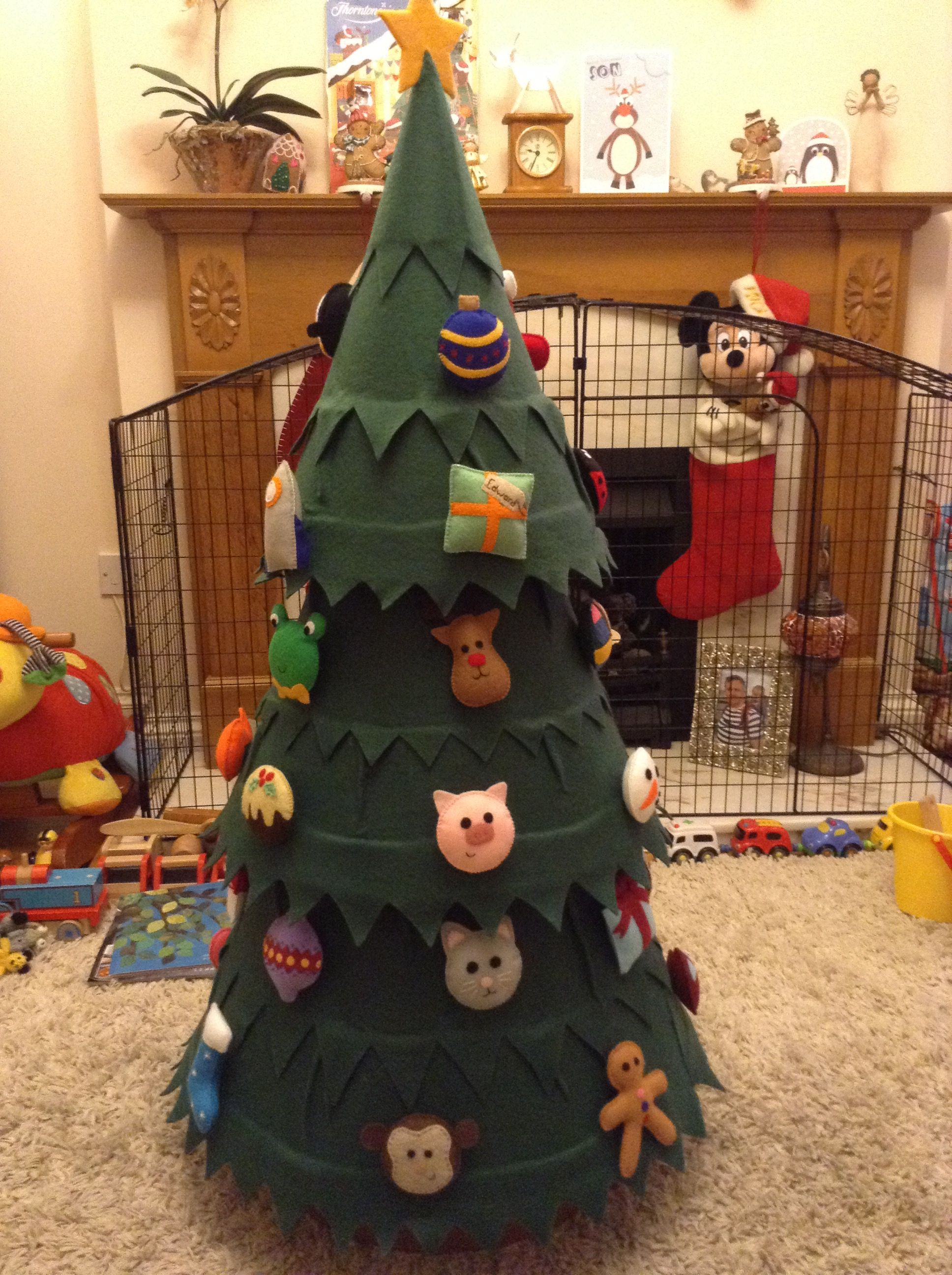 Felt Covered Christmas Tree With Felt Decorations For My Toddler