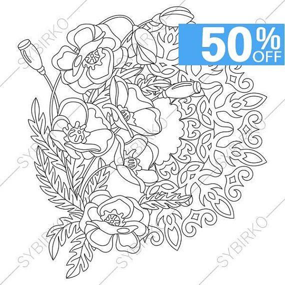 5 Coloring Pages Poppy Flowers Mandalas Zentangle Doodle