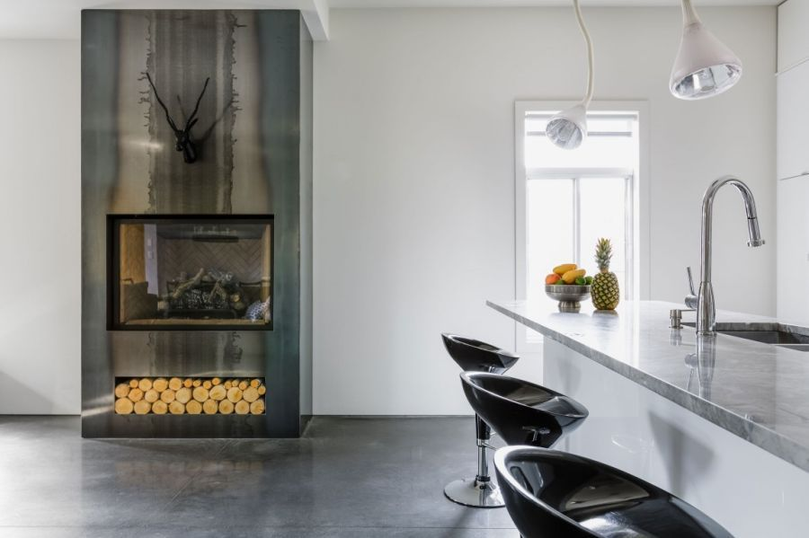 modern fireplace with deer statue above it in the living area of Mentana Residence
