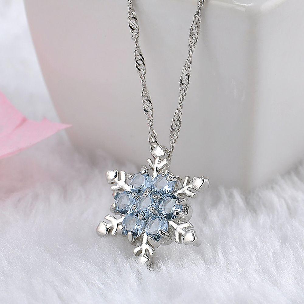 Charm Vintage Dame Halskette Frauen Schneeflocke Blume Form Blau Zirkon versilbert Anhänger Halsketten Modeschmuck
