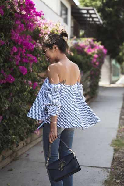 Jeans: song of style, blogger, summer top, off the shoulder, off the shoulder top, striped top, stripes, blue top, blue and white - Wheretoget