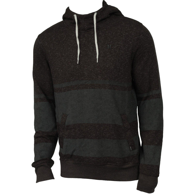 Hurley Mens Sweatshirt Retreat Stripe Pull Heather Black Mens Sweatshirts Mens Outfits Mens Lightweight Hoodie [ 1500 x 1500 Pixel ]
