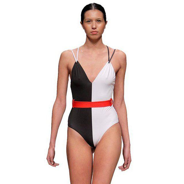 027fde3275c Balance one piece swimsuit features deep v-neckline