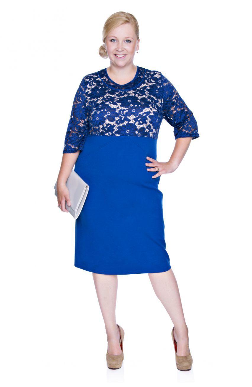 a43f07c963 Kobaltowa sukienka z koronką - Modne Duże Rozmiary