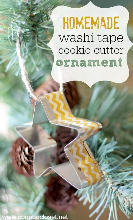 Homemade Christmas Ornaments Day 2 - Washi Tape Cookie Cutter