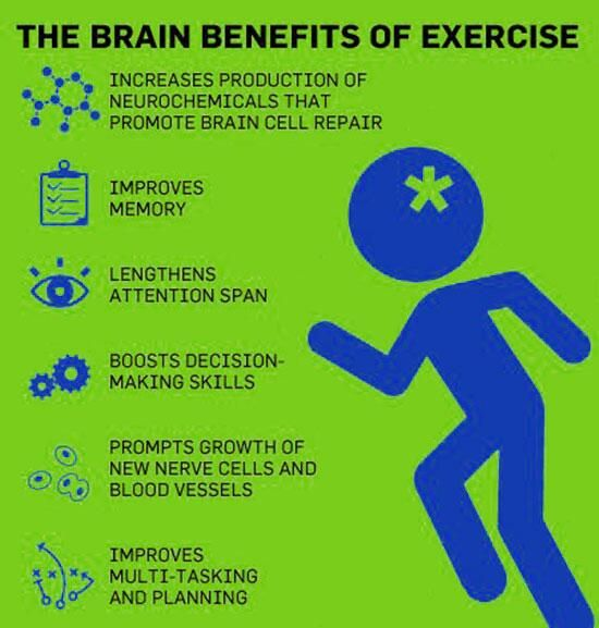 mental benefits of exercise • twenty minutes of hatha yoga improves your brain function (speed and accuracy of mental processing) to a greater degree than 20 minutes of aerobic exercise.