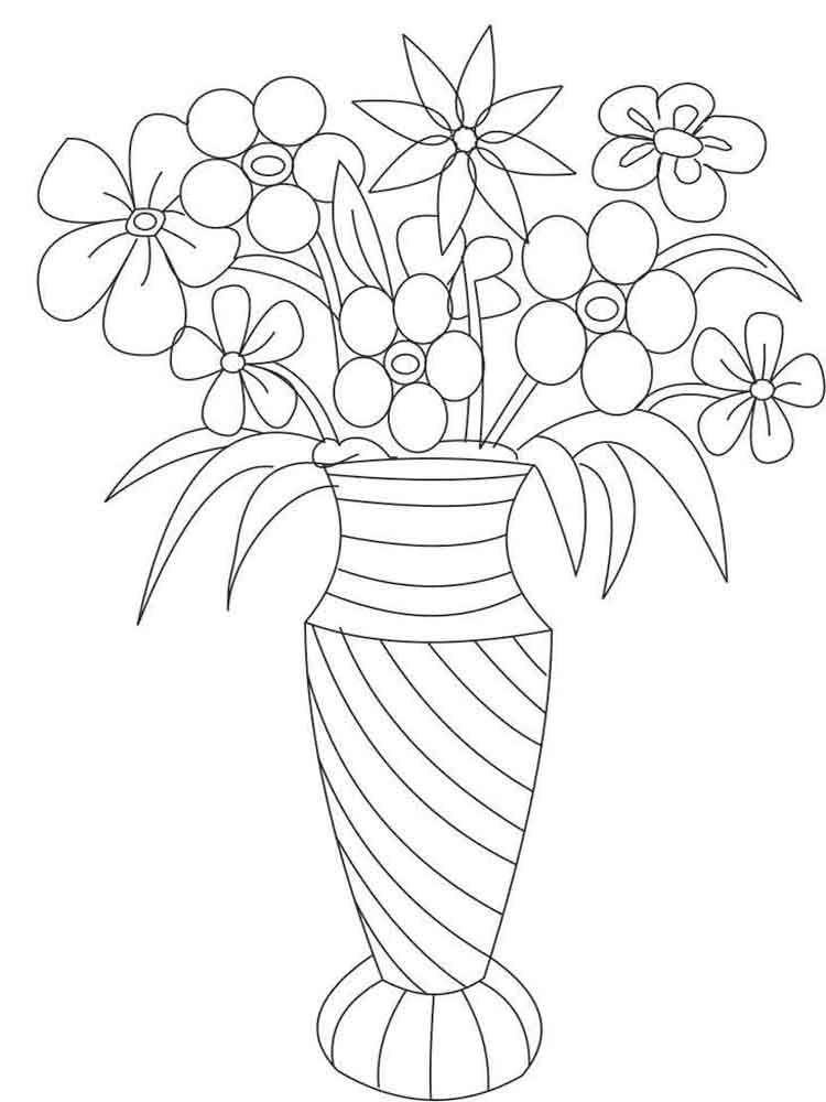 10 Dibujos De Flores En Un Jarron Para Colorear02 Paginas Para Colorear De Flores Flores Para Dibujar Dibujos De Flores