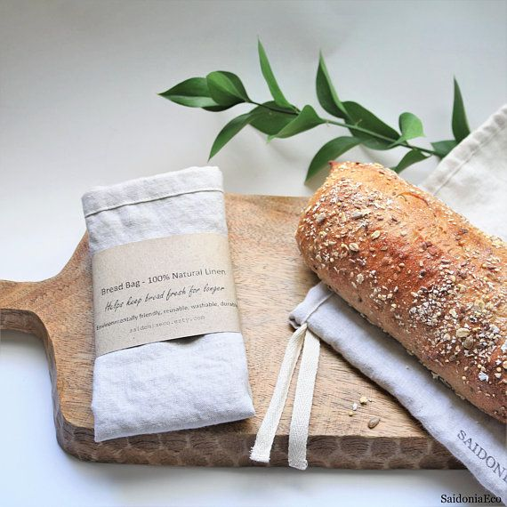 Saidoniaeco Linen Bread Bag Reusable Natural Fiber Ecofriendly