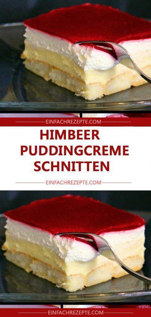 Kuchen ohne Backen – Himbeer-Puddingcreme Schnitten
