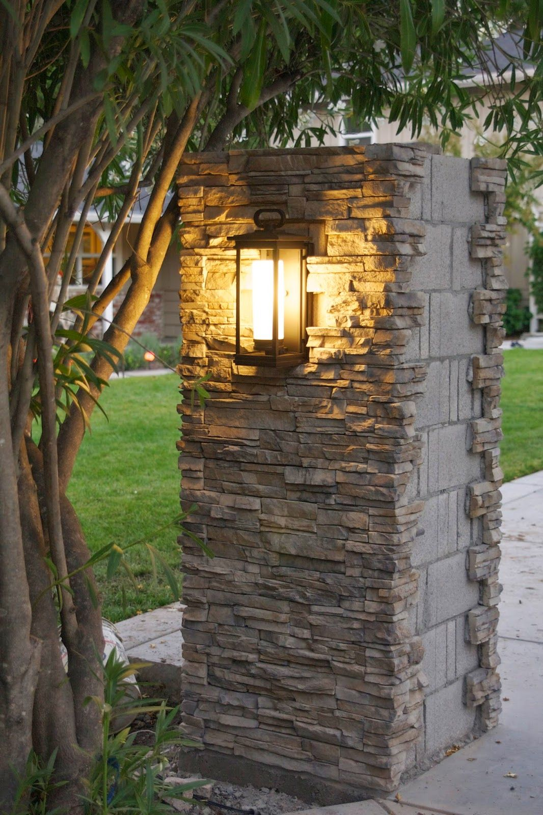 Driveway Entry Pillars : Outdoor update stacked stone pillar lights progress