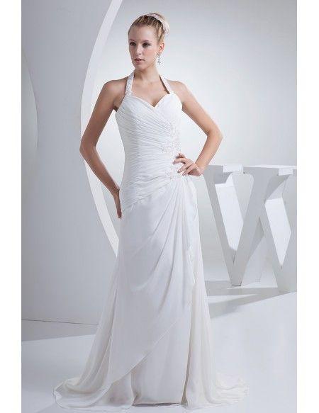 74147247 Beaded Long Halter Side Pleated Chiffon Beach Wedding Dress #OP4410 ...