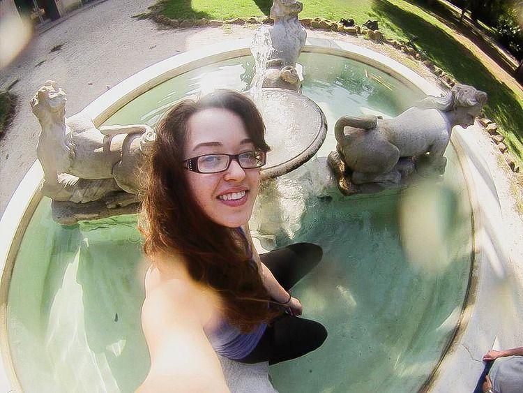 go pro selfie in the fountain in rome