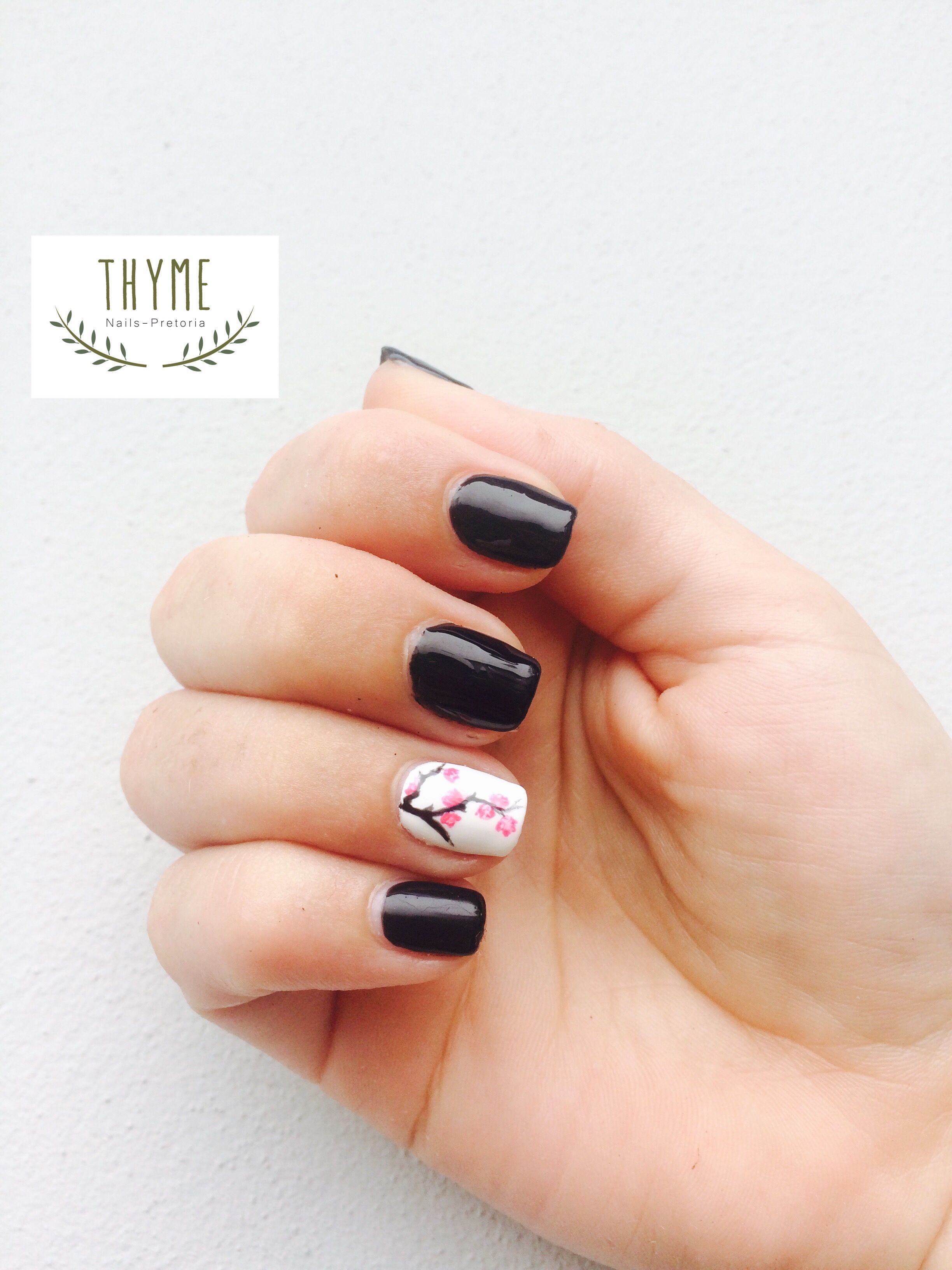 Cherry blossom nail art | Nails by Thyme | Pinterest | Cherry blossoms