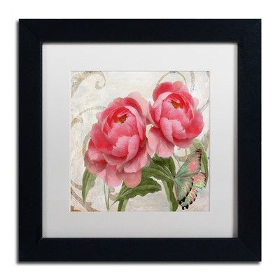 """Trademark Art 'Apricot Peonies I' Framed Painting Print Size: 11"""" H x 11"""" W x 0.5"""" D, Mat Color: White"""