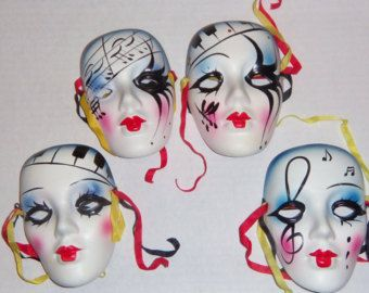 Porcelain Masks Decoration Mardi Gras Porcelain Masks Wall  Ins Pired Mask Ceramic Masks