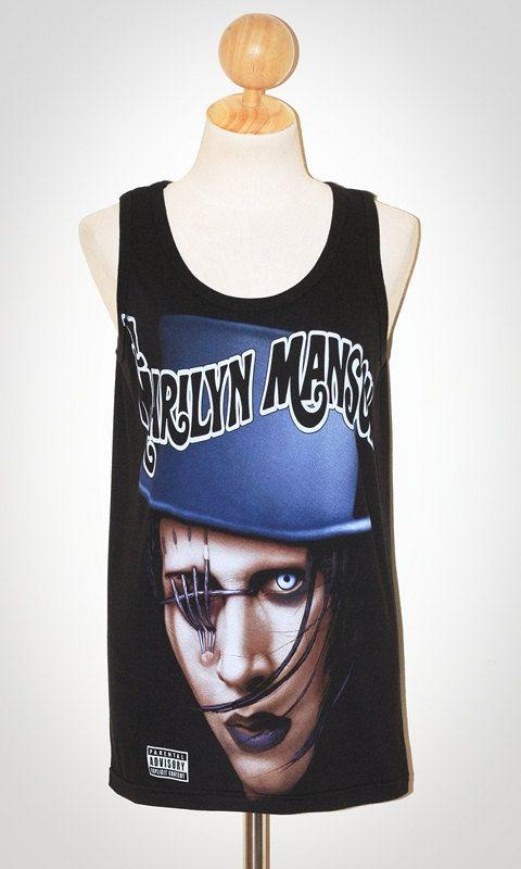 54b56f6094a05e Marilyn Manson Black Singlet Tank Top Sleeveless Horror Hard Punk Rock  Women T-Shirt Size M